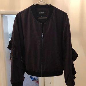 Black satin Guess baseball jacket.